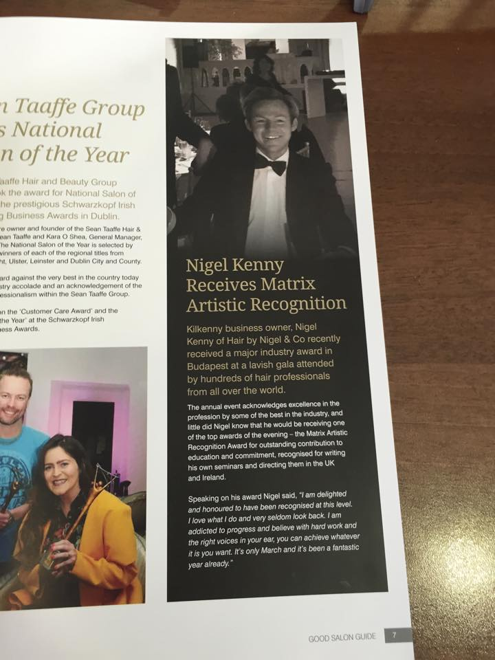 Nigel Kenny Receives Matrix Artistic Recognition
